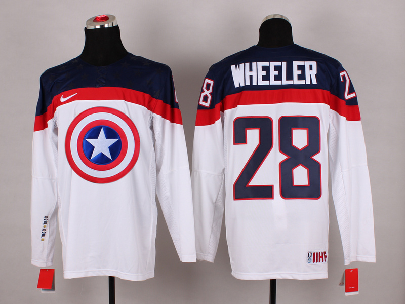 USA 28 Wheeler White Captain America Jersey