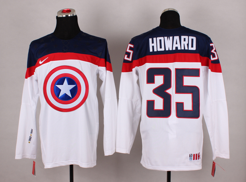 USA 35 Howard White Captain America Jersey
