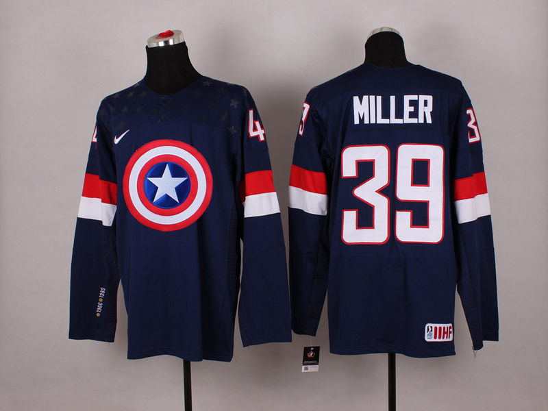 USA 39 Miller Blue Captain America Jersey