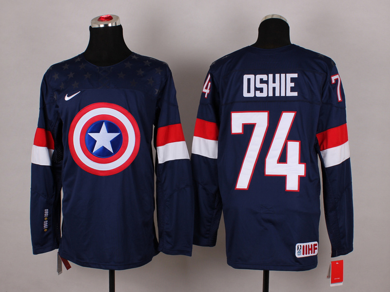 USA 74 Oshie Blue Captain America Jersey
