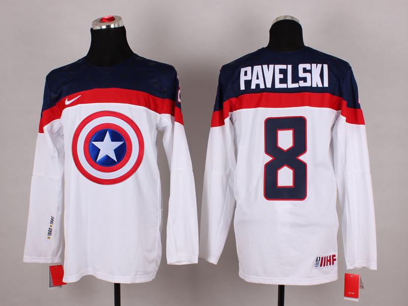 USA 8 Pavelski White Captain America Jersey