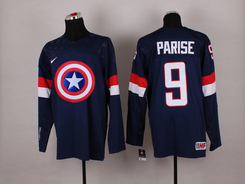 USA 9 Parise Blue Captain America Jersey
