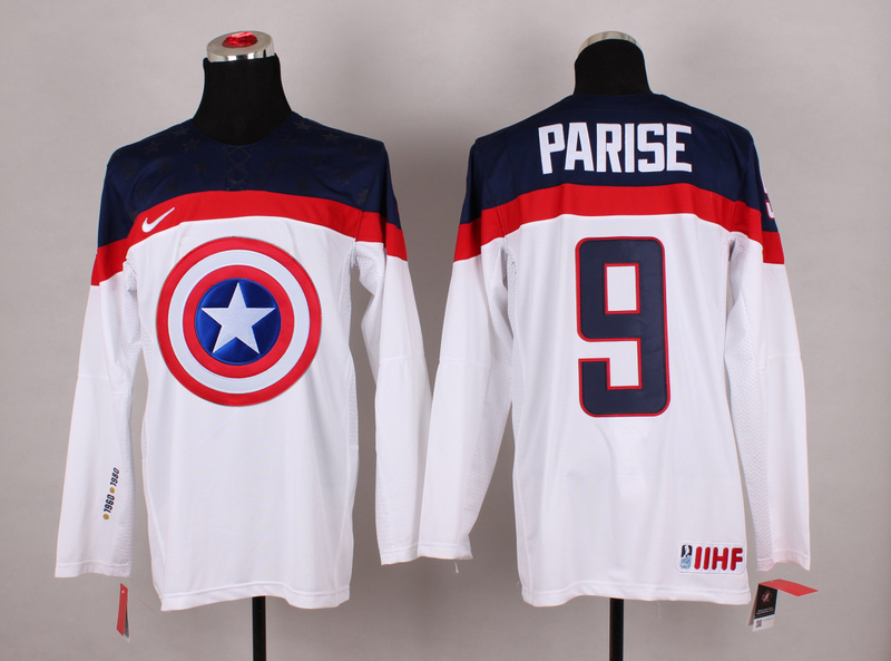USA 9 Parise White Captain America Jersey