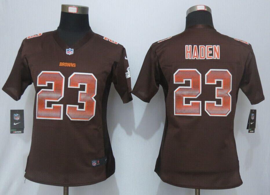 Nike Browns 23 Joe Haden Brown Pro Line Fashion Strobe Women Jersey