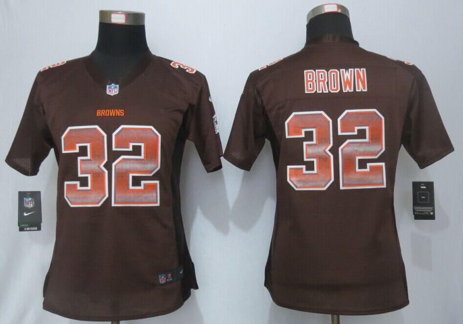 Nike Browns 32 Jim Brown Pro Line Fashion Strobe Women Jersey
