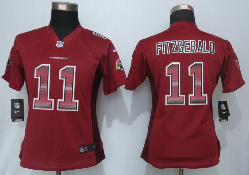 Nike Cardinals 11 Larry Fitzgerald Red Pro Line Fashion Strobe Women Jersey