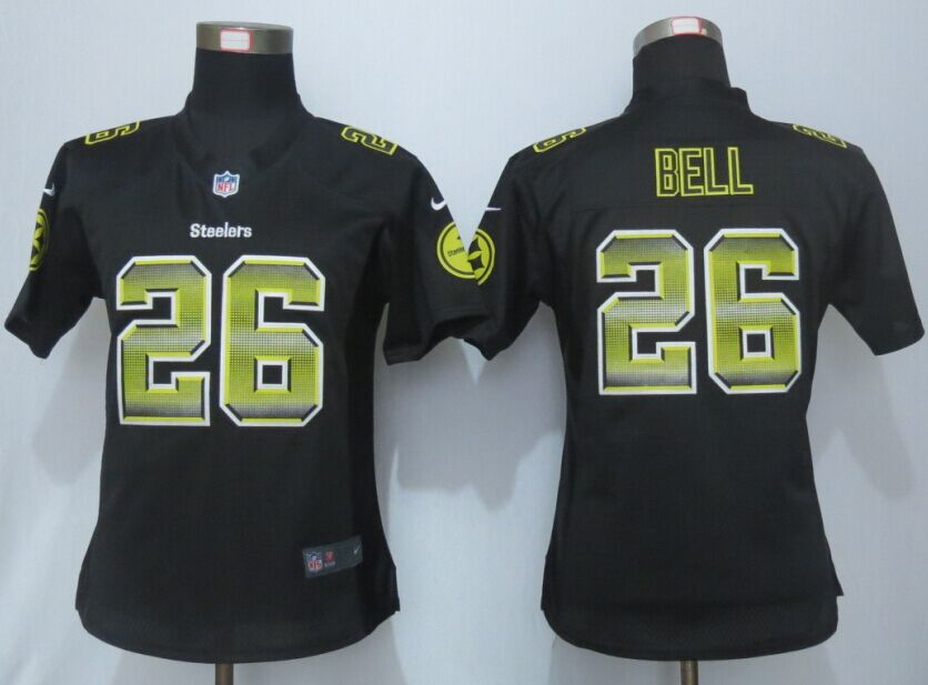 Nike Steelers 26 Le'Veon Bell Black Pro Line Fashion Strobe Women Jersey
