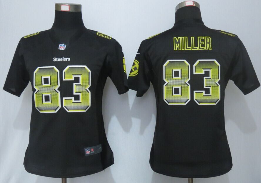 Nike Steelers 83 Heath Miller Pro Line Fashion Strobe Women Jersey