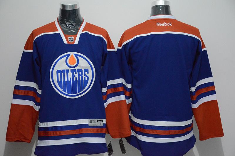 Oilers Blank Blue Reebok Jersey