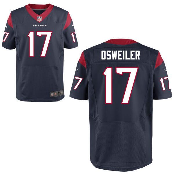 Nike Texans 17 Brock Osweiler Blue Elite Jersey