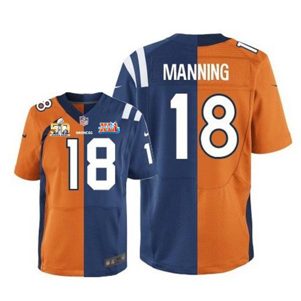 Nike Broncos 18 Peyton Manning Blue And Orange Split Super Bowl 50 Elite Jersey