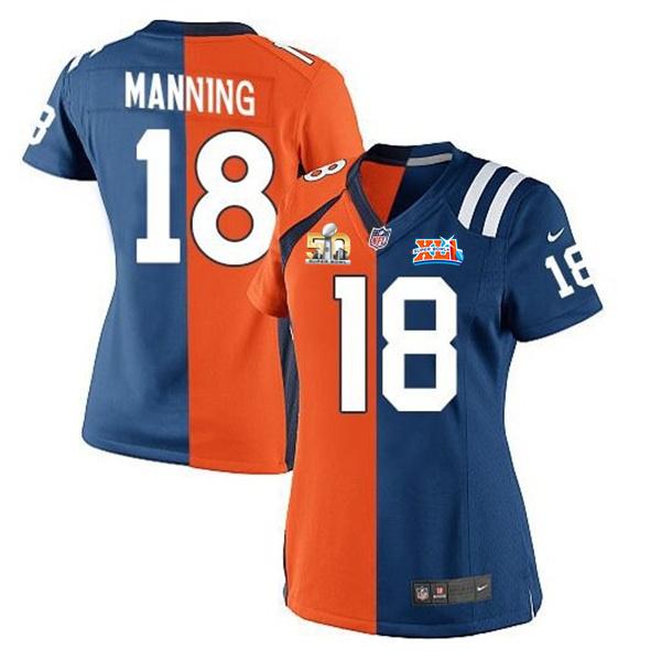 Nike Broncos 18 Peyton Manning Blue And Orange Split Super Bowl 50 Women Jersey