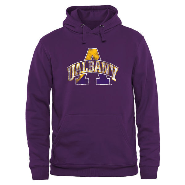 Albany Great Danes Team Logo Purple College Pullover Hoodie3