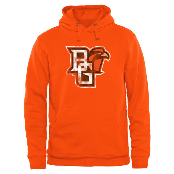 Bowling Green Falcons Team Logo Orange College Pullover Hoodie4
