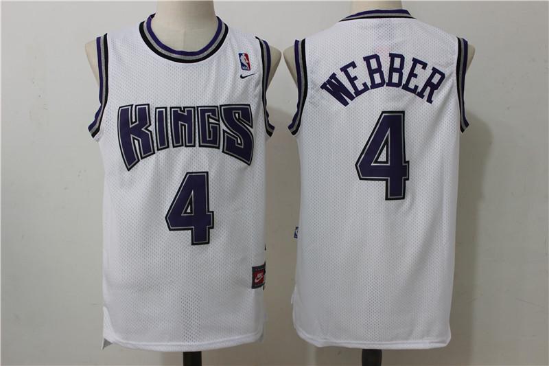 Kings 4 Chris Webber White Nike Throwback Jersey