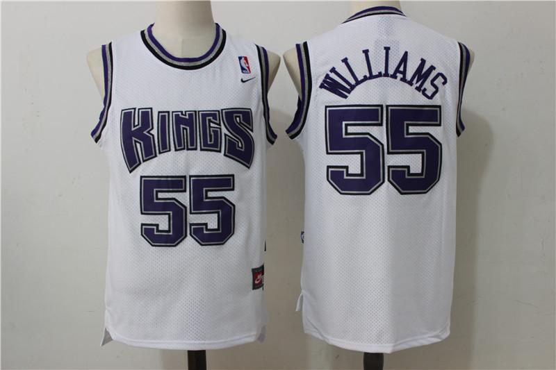 Kings 55 Jason Williams White Nike Throwback Jersey