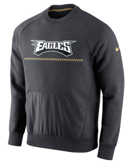 Philadelphia Eagles Nike Championship Drive Gold Collection Hybrid Fleece Performance Sweatshirt Charcoal