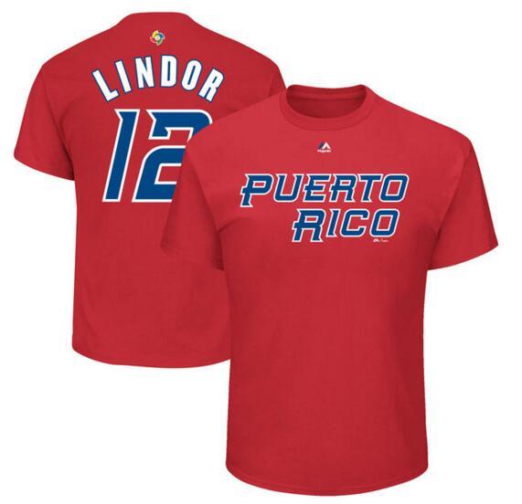 Puerto Rico Baseball 12 Francisco Lindor Majestic 2017 World Baseball Classic Name & Number T-Shirt Red