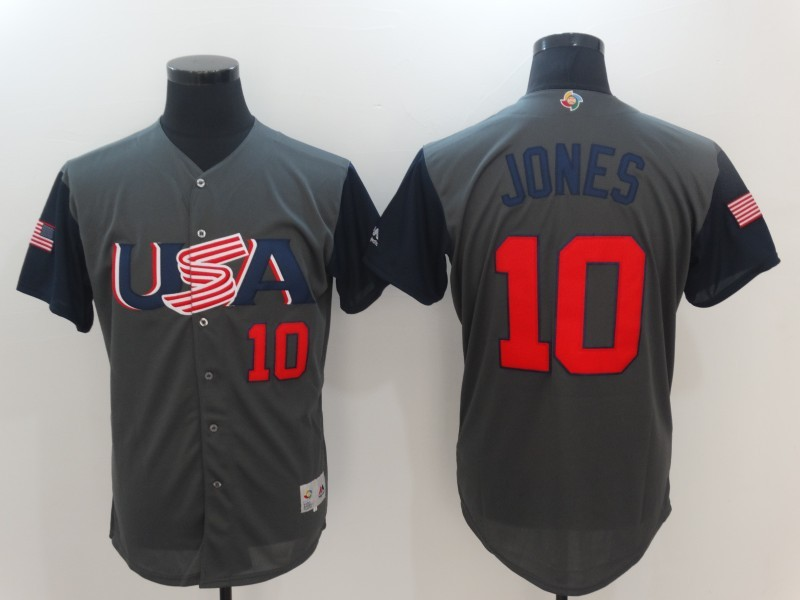 Men's USA Baseball 10 Adam Jones Gray 2017 World Baseball Classic Jersey