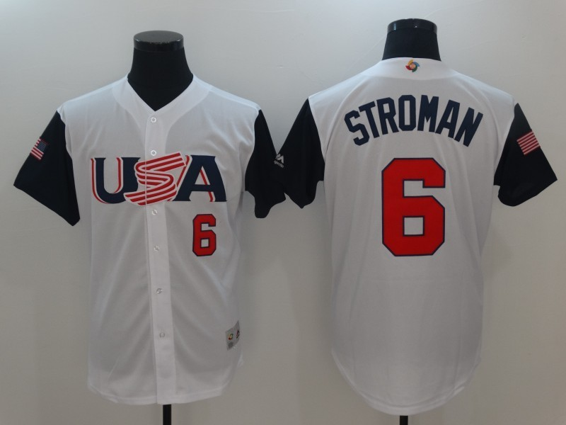 Men's USA Baseball 6 Marcus Stroman White 2017 World Baseball Classic Jersey