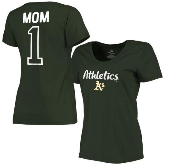 Oakland Athletics Women's 2017 Mother's Day #1 Mom Plus Size T Shirt Green