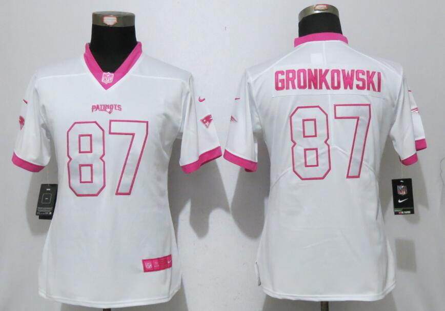 Nike Patriots Rob Gronkowski White Pink Women Game Jersey