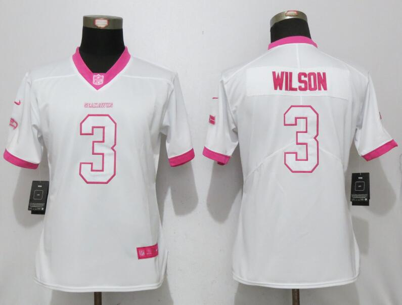 Nike Seahawks 3 Russell Wilson White Pink Women Game Jersey