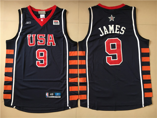 USA 9 Lebron James Navy Dream Team VI Jersey