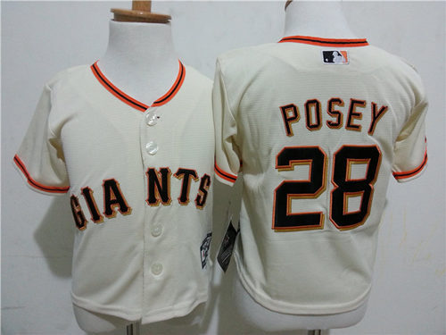 Giants 28 Buster Posey Cream Toddler Cool Base Jersey