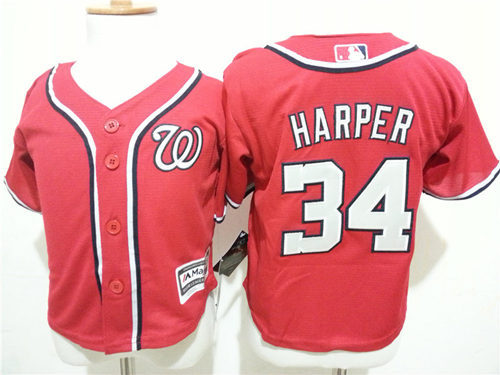 Nationals 34 Bryce Harper Red Toddler Cool Base Jersey
