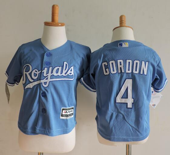 Royals 4 Alex Gordon Light Blue Toddler Cool Base Jersey