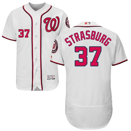 Nationals 37 Stephen Strasburg White Flexbase Jersey