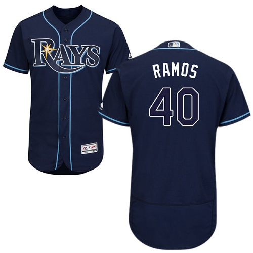 Rays 40 Wilson Ramos Navy Flexbase Jersey