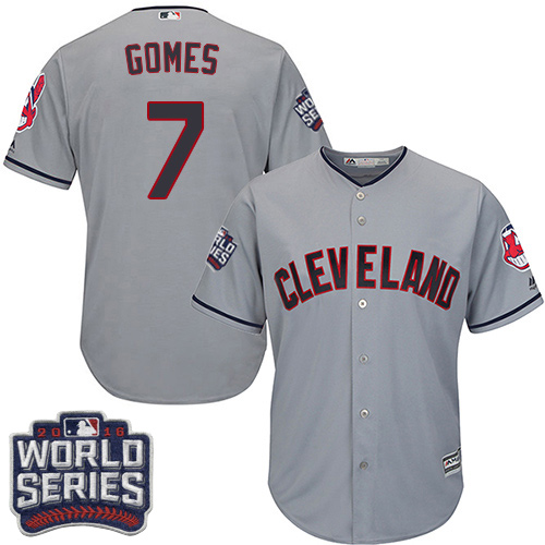 Indians 7 Yan Gomes Gray 2016 World Series Cool Base Jersey
