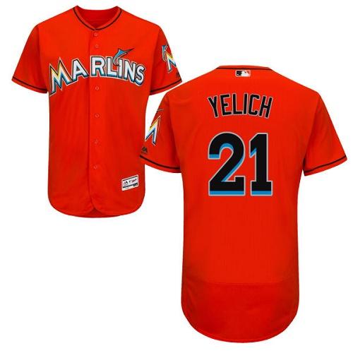 Marlins 21 Christian Yelich Orange Flexbase Jersey