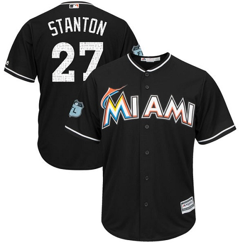 Marlins 27 Giancarlo Stanton Black 2017 Spring Training Cool Base Jersey