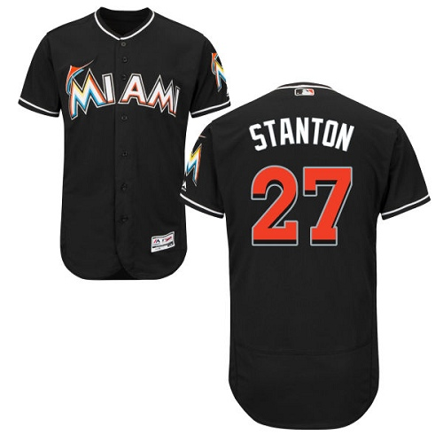 Marlins 27 Giancarlo Stanton Black Flexbase Jersey