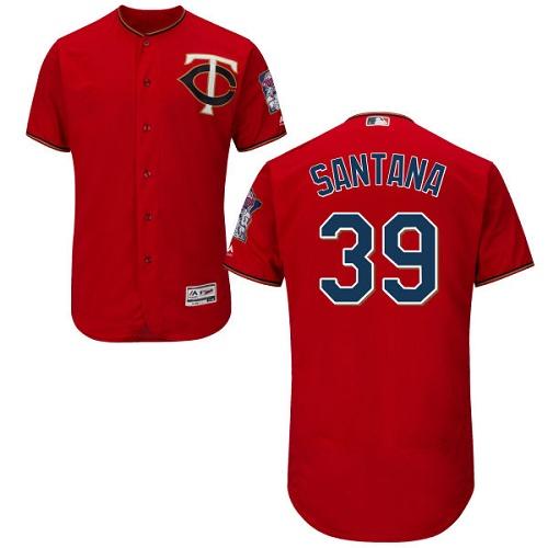 Twins 39 Danny Santana Red Flexbase Jersey