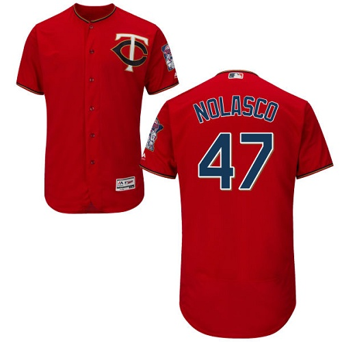Twins 47 Ricky Nolasco Red Flexbase Jersey