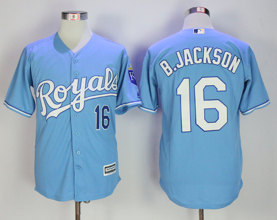 Royals 16 Bo Jackson Light Blue Cool Base Jersey