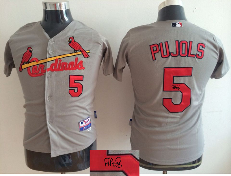 Cadinals 5 Albert Pujols Gray Youth Signature Edition Cool Base Jersey