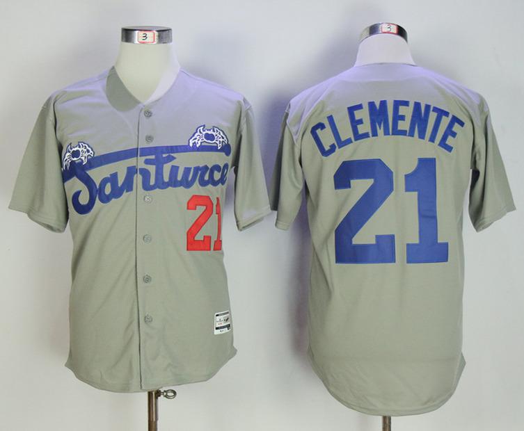Puerto Rico Cangrejeros de Santurce 21 Roberto Clemente Gray Throwback Baseball Jersey