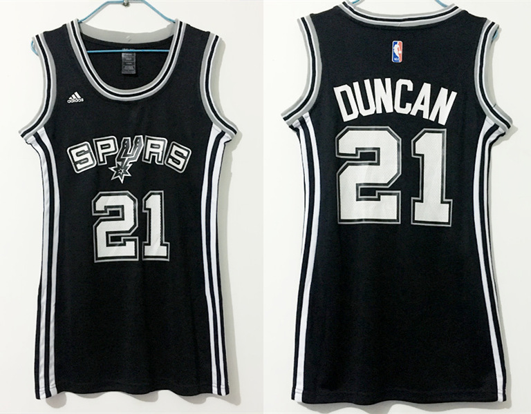 Spurs 21 Tim Duncan Black Women Swingman Jersey