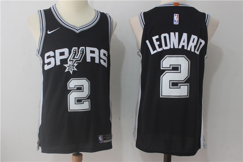Spurs 2 Kawhi Leonard Black Nike Authentic Jersey(Without the sponsor logo)