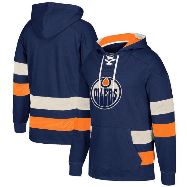 Edmonton Oilers Navy Men's Customized All Stitched Hooded Sweatshirt