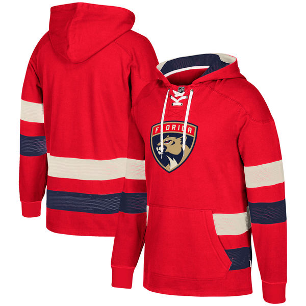 Florida Panthers Red Men's Customized All Stitched Hooded Sweatshirt