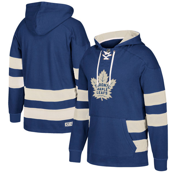 Maple Leafs Blue Men's Customized All Stitched Hooded Sweatshirt