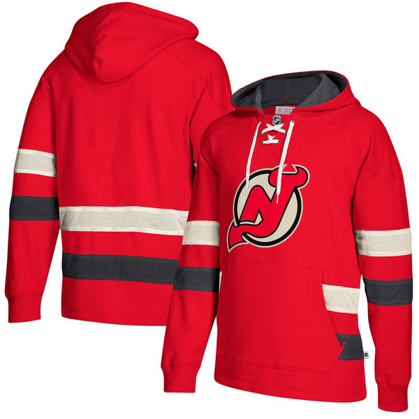New Jersey Devils Red Men's Customized All Stitched Hooded Sweatshirt