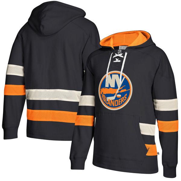 New York Islanders Navy Men's Customized All Stitched Hooded Sweatshirt
