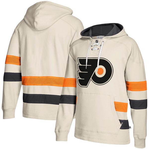 Philadelphia Flyers Cream Men's Customized All Stitched Hooded Sweatshirt